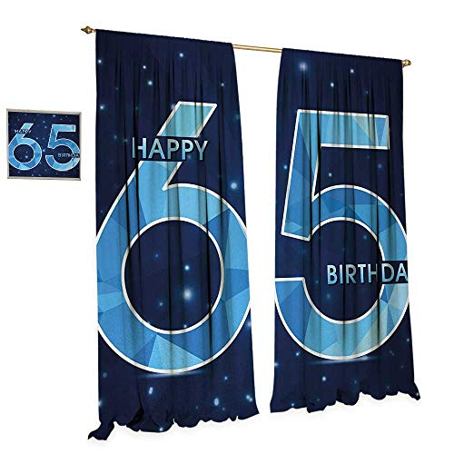 Night Cardinals Light Glass (Anniutwo 65th Birthday Thermal Insulating Blackout Curtain Modern Stylized Numbers on The Night Sky Inspired Dark Backdrop Patterned Drape for Glass Door W72 x L96 Dark Blue Light Blue)