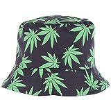 BYOS Fashion Packable Reversible Black Printed Fisherman Bucket Sun Hat, Many Patterns (Leafy Black)