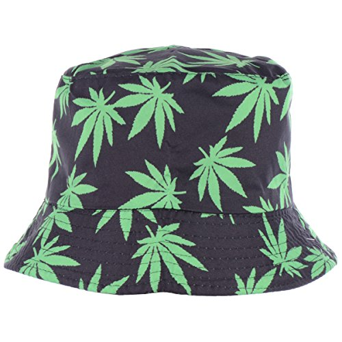BYOS Fashion Packable Reversible Black Printed Fisherman Bucket Sun Hat, Many Patterns (Leafy Black) by Be Your Own Style