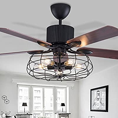 Industrial Wrought Iron Style Fan Semi Flush Ceiling Light - LITFAD Adjustable Antique Chandelier with Fans and cage for Indoor Bar Warehouse Hallway Use Vintage Pendant Light through Remote Control