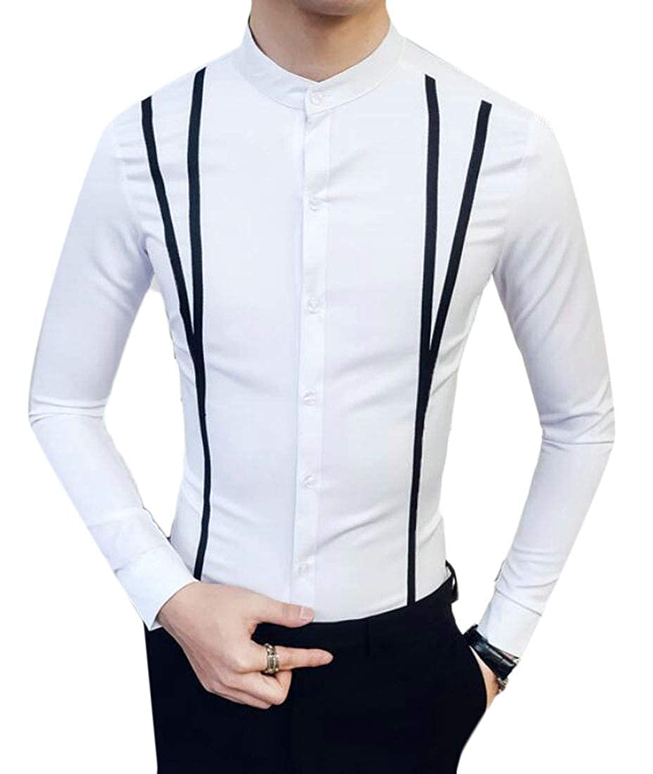 SELX Men Slim Fit Solid Long Sleeve Formal Lapel Button Down Shirts Top
