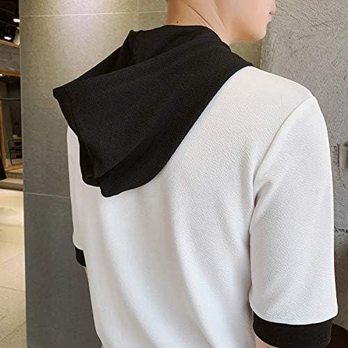 夏服 メンズ Tシャツ 半袖 無地 七分袖 パーカー おしゃれスポーツ 秋 大きいサイズ カットソートップス フード付き インナー ゆったり カジュアル プルオーバー