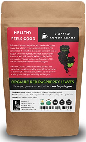 Organic Red Raspberry Leaf - Cut & Sifted Leaves - 4oz Resealable Bag - 100% Raw From Bulgaria