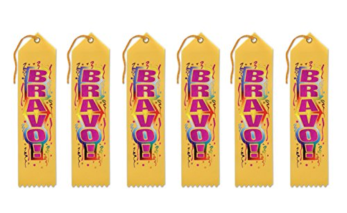 Beistle AR174 Bravo! Award Ribbons, 2 by 8-Inch, 6-Pack