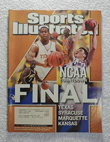 NCAA Countdown - The Final Four - Dwayne Wade (Marquette), TJ Ford (Texas Longhorns), Carmelo Anthony (Syracuse Orange), Nick Collison (Kansas Jayhawks) - Sports Illustrated - April 7, 2003 - SI