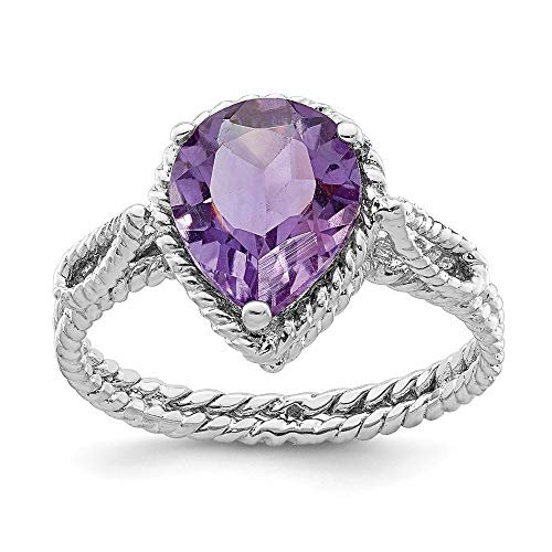 925 Sterling Silver Purple Amethyst Pear Twisted Band Ring Size 8.00 Gemstone Fine Jewelry Gifts For Women For Her