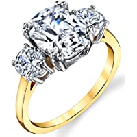 Metal Masters Co. Sterling Silver 925 Meghan Markle 14K Gold Plated Cushion Cubic Zirconia...