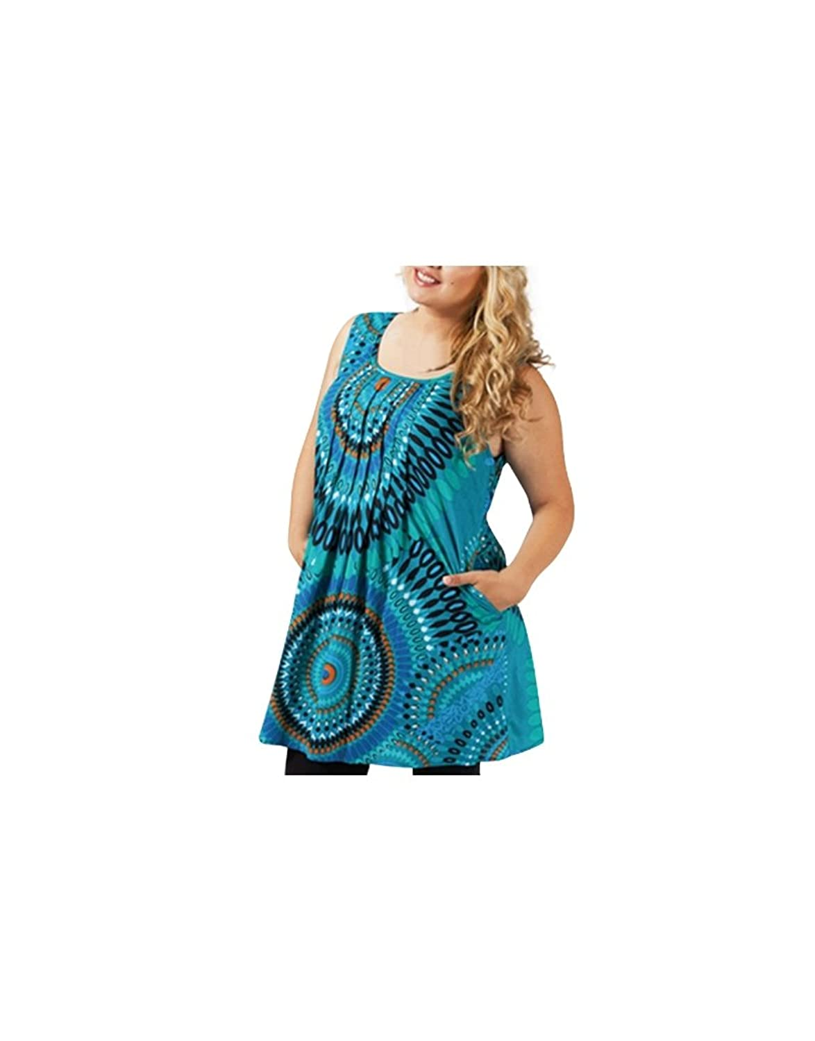 Aller Simplement Plus Size - Large long tunic sizes cotton sleeveless 2 pockets round neck go simply Plus Size TUP203