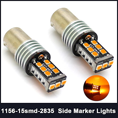 1156 7506 BAU15s Turn Signal Backup Reserve Lights 15SMD 2835 P21W 1141 LED Bulb Super Brighter Pack of 2 Amber(Yellow)