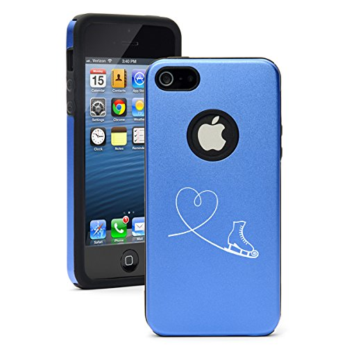 For Apple iPhone 5c Aluminum Silicone Dual Layer Hard Case Cover Heart Love Ice Skating (Blue) (Iphone 4s Ice Skating Case)