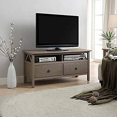 Titian TV Stand in Rustic Grey | Maximum weight capacity: 200 lb.