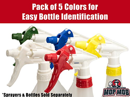 Mop Mob Leak-Free Chemical Resistant Spray Head 5 pk By Industrial Sprayer for Auto/Car Detailing, Window Cleaning and Janitorial Supply. Heavy Duty Low-Fatigue Trigger and Nozzle Fit 32oz Bottle (5)