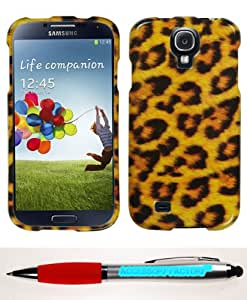 Accessory Factory(TM) Bundle (Phone Case, 2in1 Stylus Point Pen) SAMSUNG Galaxy S 4 (I337 L720 M919 I545 R970 I9505 I9500) Leopard Skin Phone Protector Cover