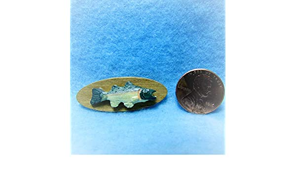 Dollhouse Miniature Small Green Trout on Wood Trophy Wall Plaque