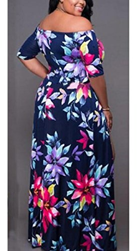 Dress Floral Womens Party Blue Out Maxi Back Cut Shoulder Navy Split A Coolred Bv6aT5qa