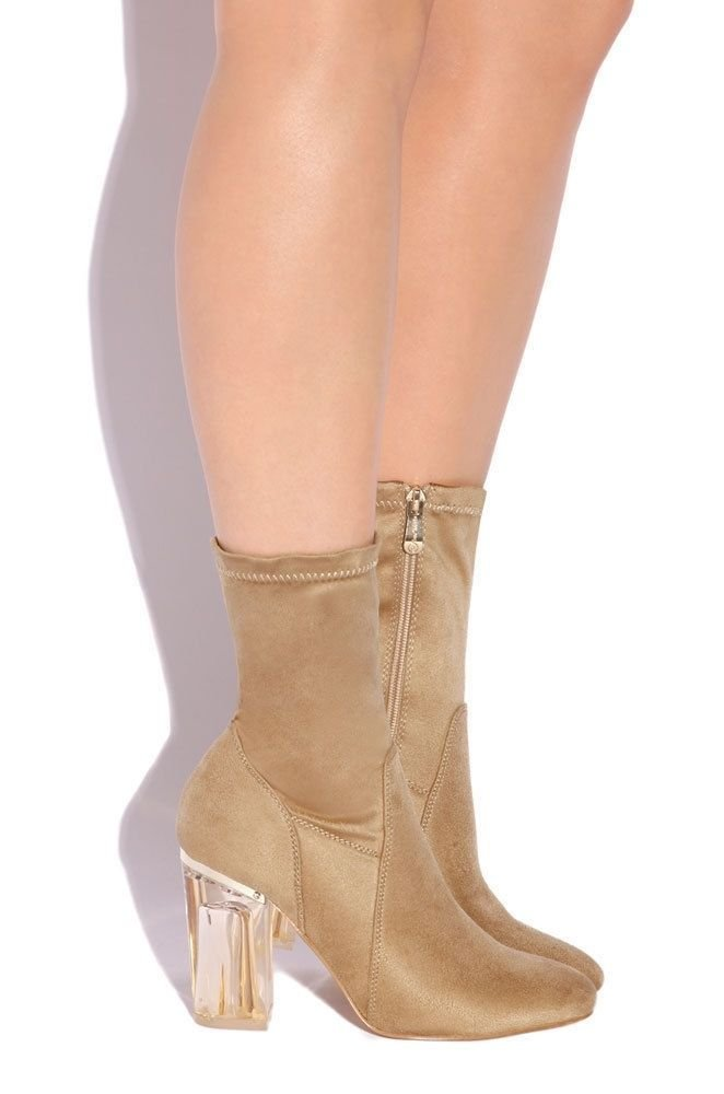 CAPE ROBBIN Fay-1 No Frontin Glass Heel Stretch Ankle Boot (9, Nude Suede)