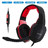 Winkona Stereo Wired Gaming Headset/Headphones with Removable Mic For PS4  Xbox one  PC (Compatible with XBox one via Microsoft Adpator )-Red