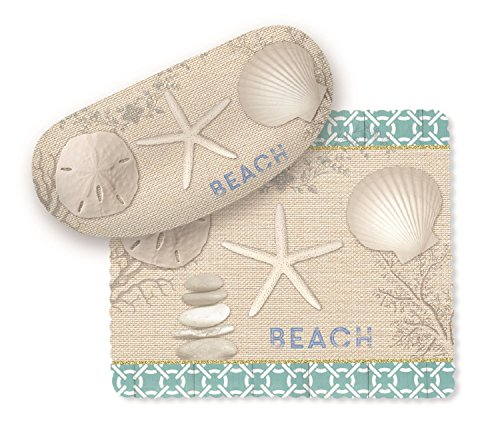 Seashells Starfish Sand Dollar on Beach Sunglasses Case with Lens - Sunglasses Dollars