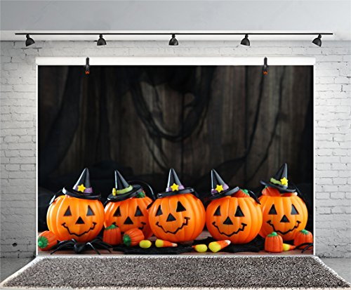 Leyiyi 5x3ft Photography Background Happy Halloween Party Backdrop Vintage Wooden Cabbin Cute Pumpkin Lamps Corn Kernels Spiders Horro Costume Carnival Candy Photo Portrait Vinyl Studio Video Prop -