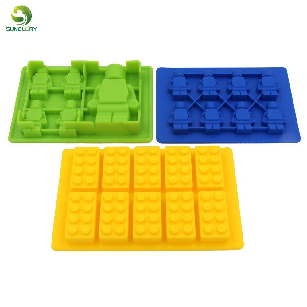 1 Set 3PCS Silicone Ice Mold Blocks Robot Ice Cream Maker 10 Bricks Ice Cream Tubs Tray Ice Cream Tools Silicone Cake Mold Baking Pan
