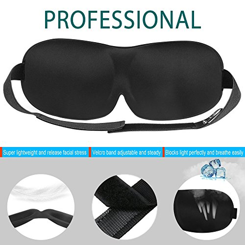 3D Contoured Sleep Mask with Earplugs, Adjustable Eye Masks for Sleeping, Lightweight and Comfortable, Best Eyeshades for Travel, Shift Work, Naps, Night Blindfold(5th Generation) (Black) by Smartmago (Image #2)