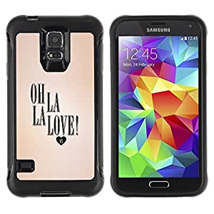 KROKK CASE Samsung Galaxy S5 SM-G900 - oh la love heart peach text valentines - Rugged Armor Slim Protection Case Cover Shell