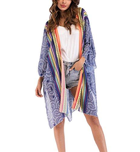 Grande Donna Stile Sottile Pareo Vintage Kimono Sciolto Cardigan Manica Bohemian Stampa Copricostume Chiffon Hippie Casual Elegante Estate Mare Mare Etnico Lunga Moda w6CqA6