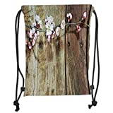 Drawstring Backpacks Bags,Rustic Home Decor,Stained Walnut Branch with Soft Twiggy Swirling Flower Leaves Concept,Pink Brown Soft Satin,5 Liter Capacity,Adjustable String Closure,T
