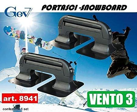 Autoadhoc Portasci Magnetico Gev antifurto per 3 Paia di Sci o 2 Snowboard Vento 3