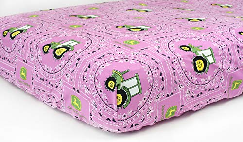 Tractor Fitted Crib Sheet, Displaying John Deere Tractors, Pink