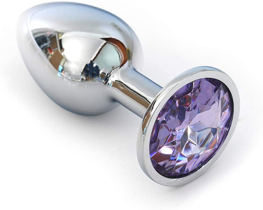 Crystal Stainless Steel Butt Plug Beads Jeweled L:2.7in W:1.1in