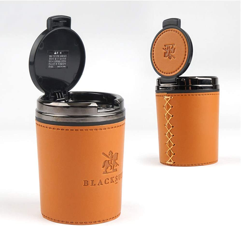 Luxury Leather Ashtray for Car Ashtray Easy Clean Up Detachable Most Car Cup Holder Type 3 Color Orange Brown