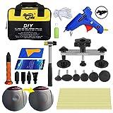 AUTOPDR 28Pcs DIY Auto Dent Removal Tools Den Puller Kit Car Dent Paintless Repair PDR Tools with Dent Bridge Hot Glue Gun Sticks for Hail Damage Car Dent