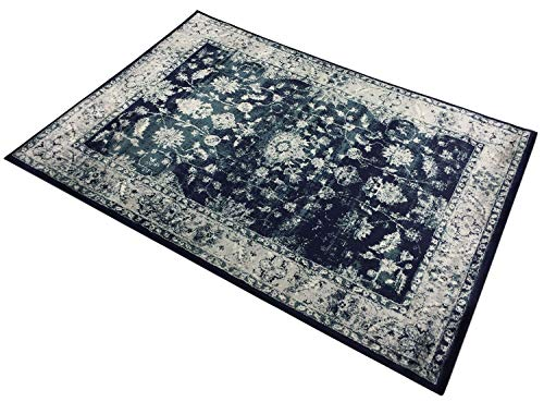 English Home Studio Collection Mahal Orient Design Area Rugs (Mahal Navy, 5x7)