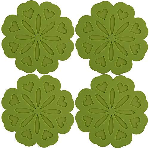 ME.FAN 4 Set Silicone Pot Holders, Trivet Mat, Jar Opener, Spoon Rest and Kitchen Trivet, Non Slip Flexible, Durable, Heat Resistant Dishwasher Available Kitchen Trivet and Pot Pads-Dark Green ()