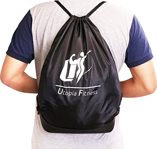Drawstring Backpack Bag (Black) - Sport Gym Sackpack - Lightweight and Foldable Travel Bag - Multifunction Unisex Sack Backpack by Utopia Fitness