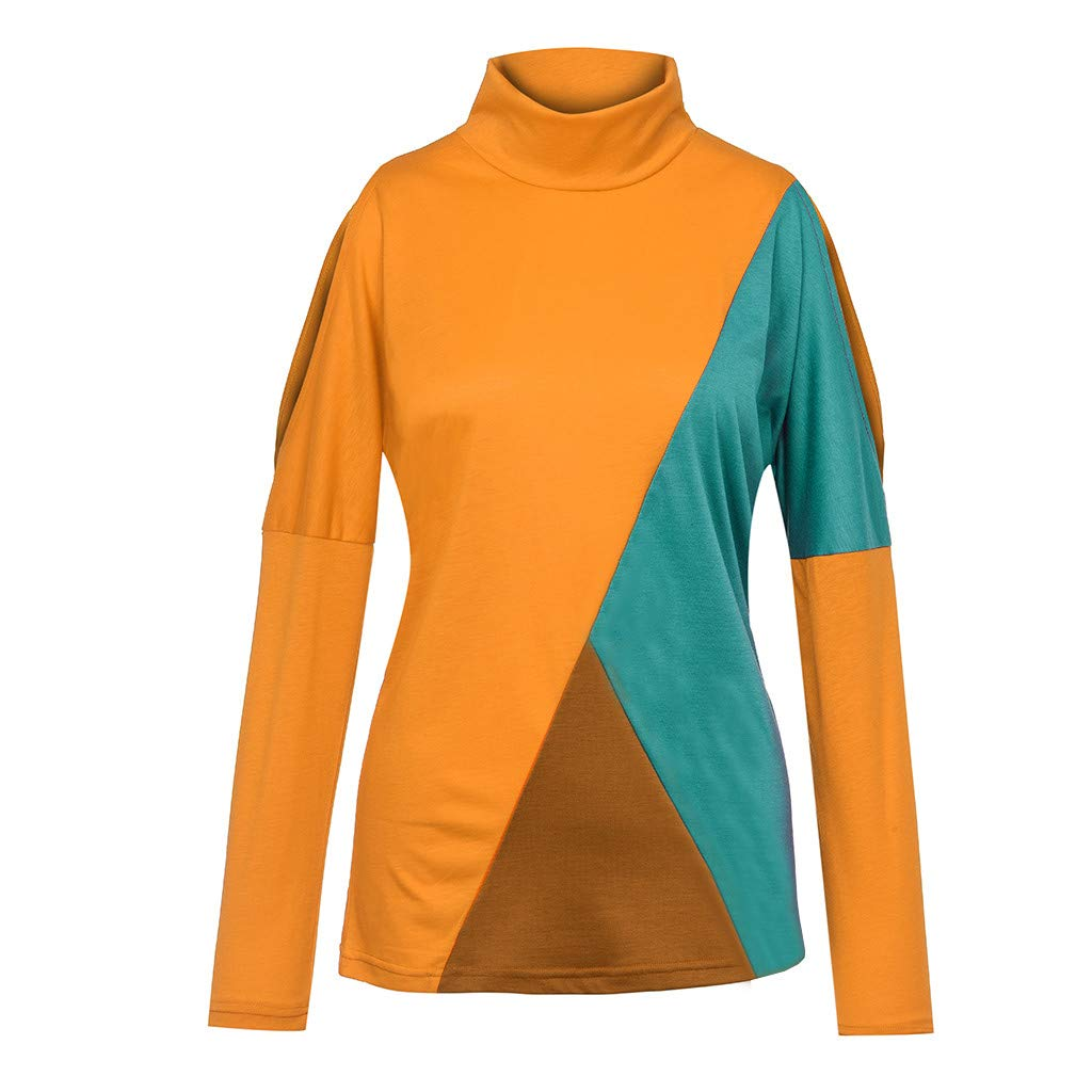 aihihe Tops Shirt Womens Colour Block Leopard Long Sleeve Cold Shoulder Blouse Casual Funny Novelty Tops