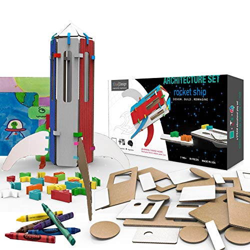 3DuxDesign Rocket Ship Architecture Set - DIY Design, Build & Paint Toy for Kids Steam Education - 88 Easy to Assemble and Reusable Pieces to Make Rocket, Martian and Scene - Open Ended Creative Play for $<!--$29.50-->