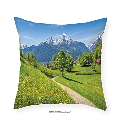 Capped Satin (VROSELV Custom Cotton Linen Pillowcase Apartment Decor Wildflowers In The Alps And Snow-Capped Mountains National Park Bavaria Germany Bedroom Living Room Dorm Decor Yellow Green 16
