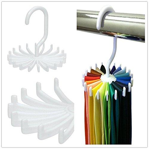 Duckdarky Tie Rack Organizer Hanger Closet Organizer Men'S Tie Rack Holds 20 Neck Ties (Color: White)