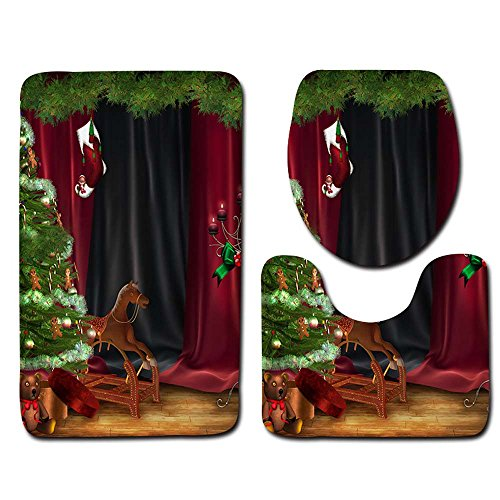 pengchengxinmiao 3pcs Santa Toilet Set Seat Tank Cover Contour Rug Polyester Themes Cartoon Elk Santa Claus Snowman Non-Slip Bathroom Fancy Merry Christmas Decor Mat (Multicolor, D) ()