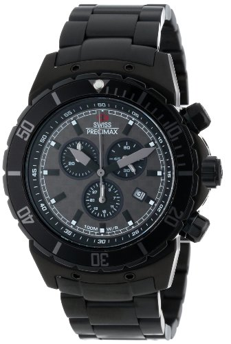 Swiss Precimax Men's SP13295 Pursuit Pro Grey Dial with Black Stainless Steel Band Watch