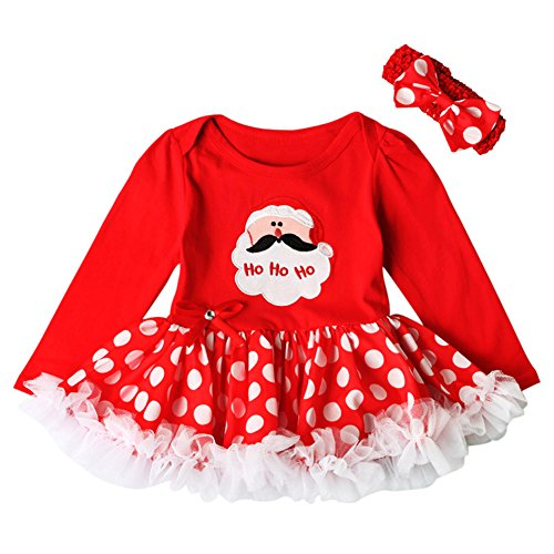 Newborn Infant Baby Girl Princess Party Romper Suits Costume My 1st Christmas Black Orange Tutu Dress Nb-18m Clothe set Red Santa Claus 3-6 (Party In My Pants Halloween Costume)