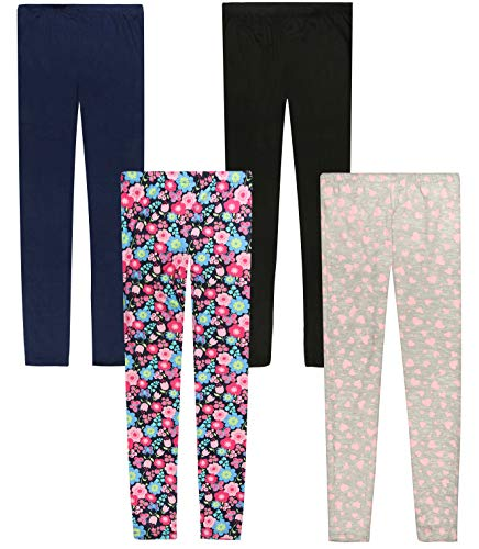Only Girls Ultra Comfortable Soft-Touch Printed Yummy Leggings (4-Pack), Flowers/Hearts, Size 8/10'