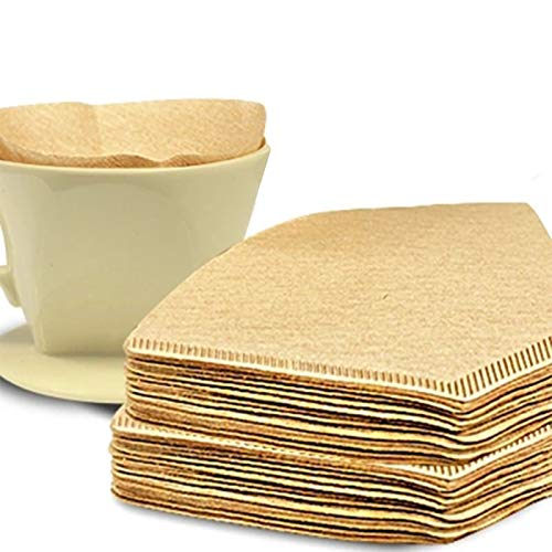 Paper Strainer 100 Pcs/200pcs/300 Pcs/bag Cone Shape Disposable Coffee Filter Paper Unbleached Pre-folded Filter Coffee Maker Strainer Tools by Aquat