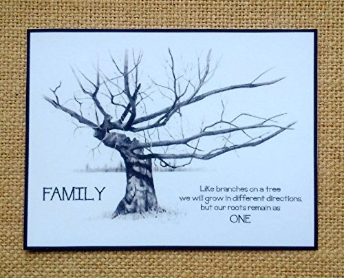 Gnarled Tree - Tiny Art Print Fridge Magnet, Drawing of Gnarled Tree, Quote About Family Roots and Unity, Pencil Art, Kitchen Decor