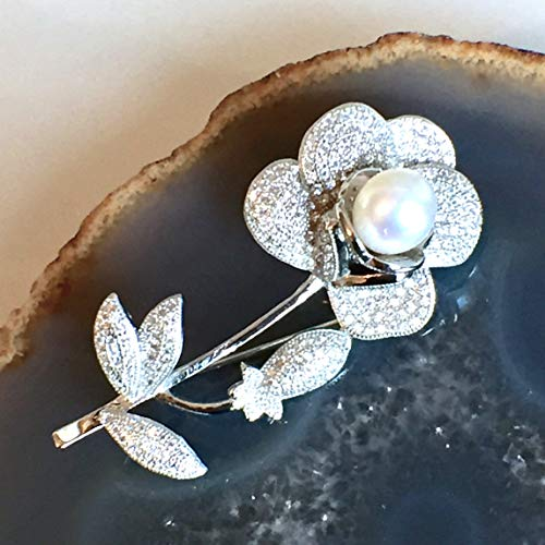 Silver Vermeil Brooch - Cultured White PEARL, White Cubic Zirconia, 14k WHITE GOLD Vermeil 925 Sterling Silver, Gracious and Feminine Flower Pendant/Brooch Jewelry, with FREE Silver Chain 22