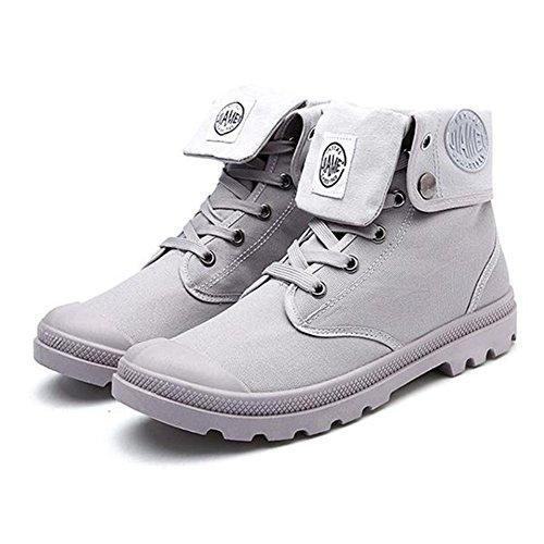 Hombres al aire libre botas altas botas de combate multifunción Desierto de excursión los zapatos Gris