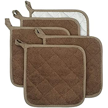 Lifaith 100% Cotton Kitchen Everyday Basic Terry Pot Holder Heat Resistant Coaster Potholder for Cooking and Baking Set of 5 Brown