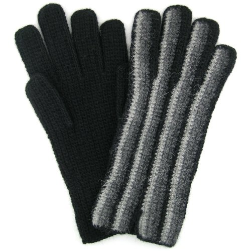 "Alpaca Gloves ""Rayas"" Hand Crocheted Fair Trade Bolivia 100% Alpaca - Grey"